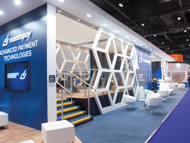 Exhibition Stand Trends 2018 : Striking and inviting ecommpay at ice